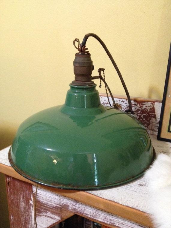 Vintage Porcelain/Enamel Green Service Station/Barn Light Fixture