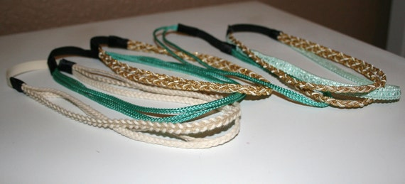 Seafoam green, Teal, Gold, and tan greek headband collection
