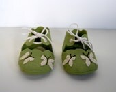 Handmade Wool Felt Green and Cream Butterfly Infant Baby Shoes
