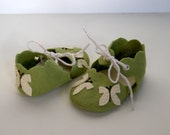 Handmade Wool Felt Green and Cream Butterfly Infant Baby Shoes Personalized