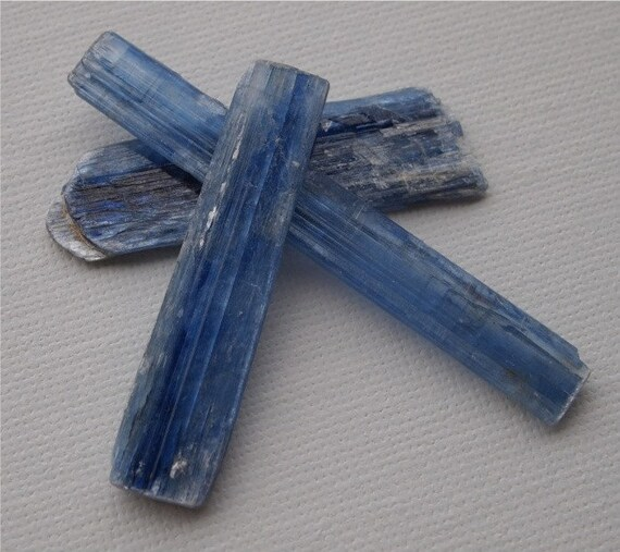 Loose Stone, Blue Kyanite, Natural Form, Unpolished, Set of Three