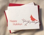 Letterpress Holiday Cardinal Cards - Set of 6