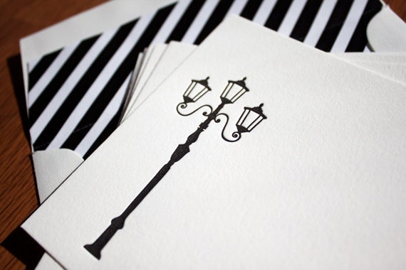 50% OFF SALE - Letterpress Black and White Note Set - Set of 6 - Lamp Post and Stripes