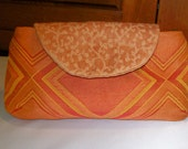 QUILTED Flap Clutch in orange with free shipping