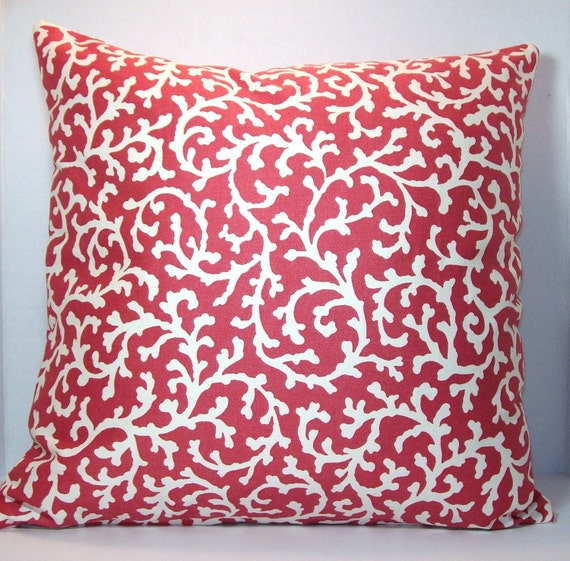 Throw Pillow Cover Fabric : Coral Cascade Throw Pillow Cover Waverly Home Dec Fabric 16 x