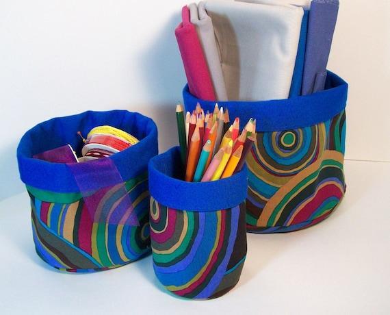 Organizing Fabric Round Storage Baskets