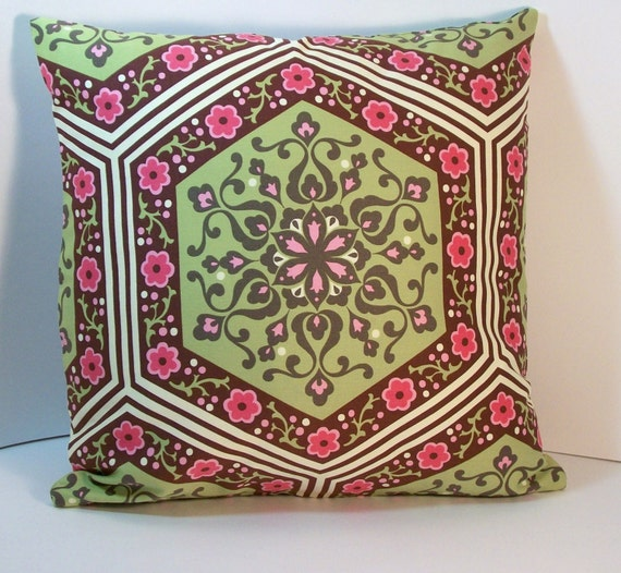 Green Pink Throw Pillow Cover Amy Butler Home Dec Fabric 16