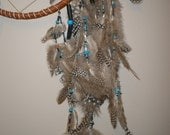 Dream Catcher Adorned with Feathers and Beads in Blues, Blacks Browns.