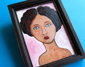 Original Painting - Girl with Lavender Eyes - Ready To Hang - Small Painting Framed 6x8