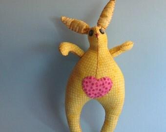 Funny Bunny - OOAK Summertime Yellow Bunny - Plush Toy - Gift