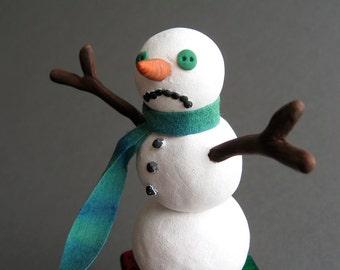Holiday Decor - OOAK - Let it Snow - Snowman has the blues - Christmas Art