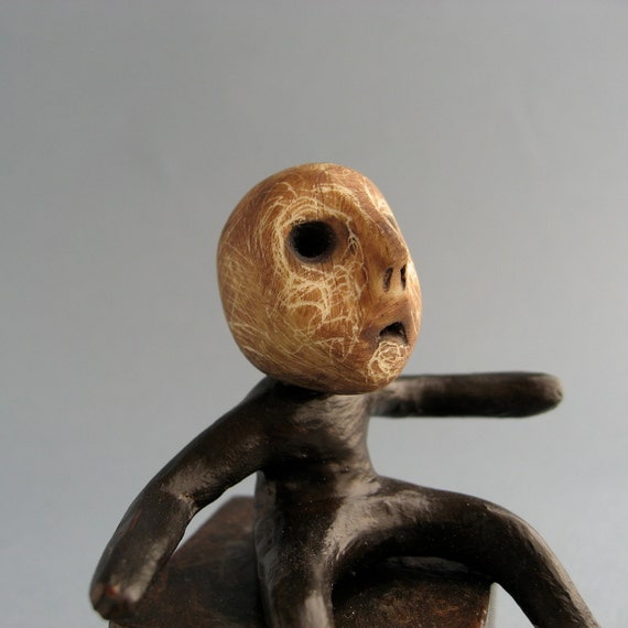 OOAK Handmade Artwork Sculpture - Little Man Figurine - Mononoke -Who