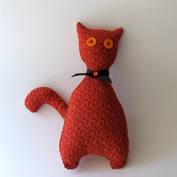 Travel Kitty - Handmade Orange and Red Plush Toy - Gift - Orange you gunna take me with you