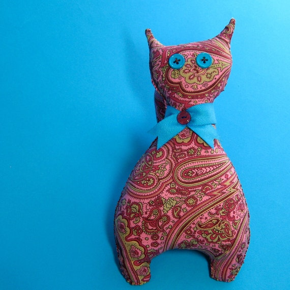 Travel Kitty - Handmade Pink Paisley Plush Toy - Gift - Take me with you
