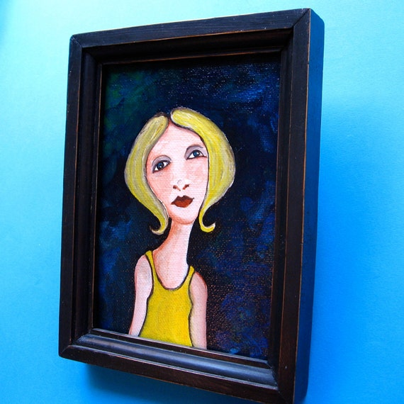 Original Painting - Girl in Yellow Shirt - Ready To Hang - Small Painting Framed 6x8