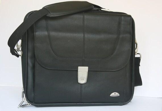 Black Leather Messenger Bag  - Over the Shoulder Briefcase