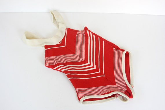 Toddler's Swimsuit Red and White V Striped