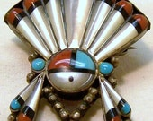 SALE TAKE 20% OFF Zuni Sterling Onyx Coral Turquoise Mother of Pearl Brooch- Free Shipping