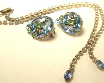 SALE -TAKE 20% OFF-Demi Parure Pastel Rhinestone Necklace and Clip Earrings- Free Shipping