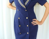Vintage Navy Blue Sailor Dress - Leslie Fay for Lord and Taylor