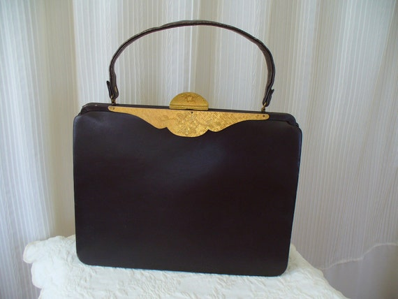 Vintage 20's-30's Brown Leather Purse - Murray Kruger - RESERVED