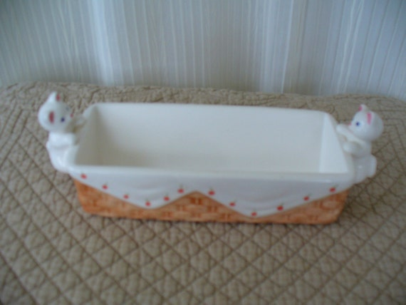 Vintage Ceramic Kitten Butter Dish - Country Basket and Cherries - Shabby Chic
