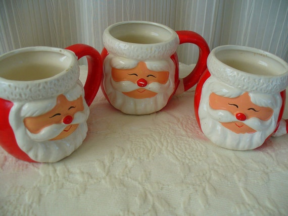 Vintage Santa Face Hot Cocoa Mugs-Christmas Kickback-Set of 3
