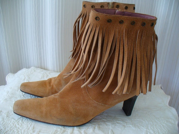 Vintage Suede Fringed Ankle Boots - Mod Hippie