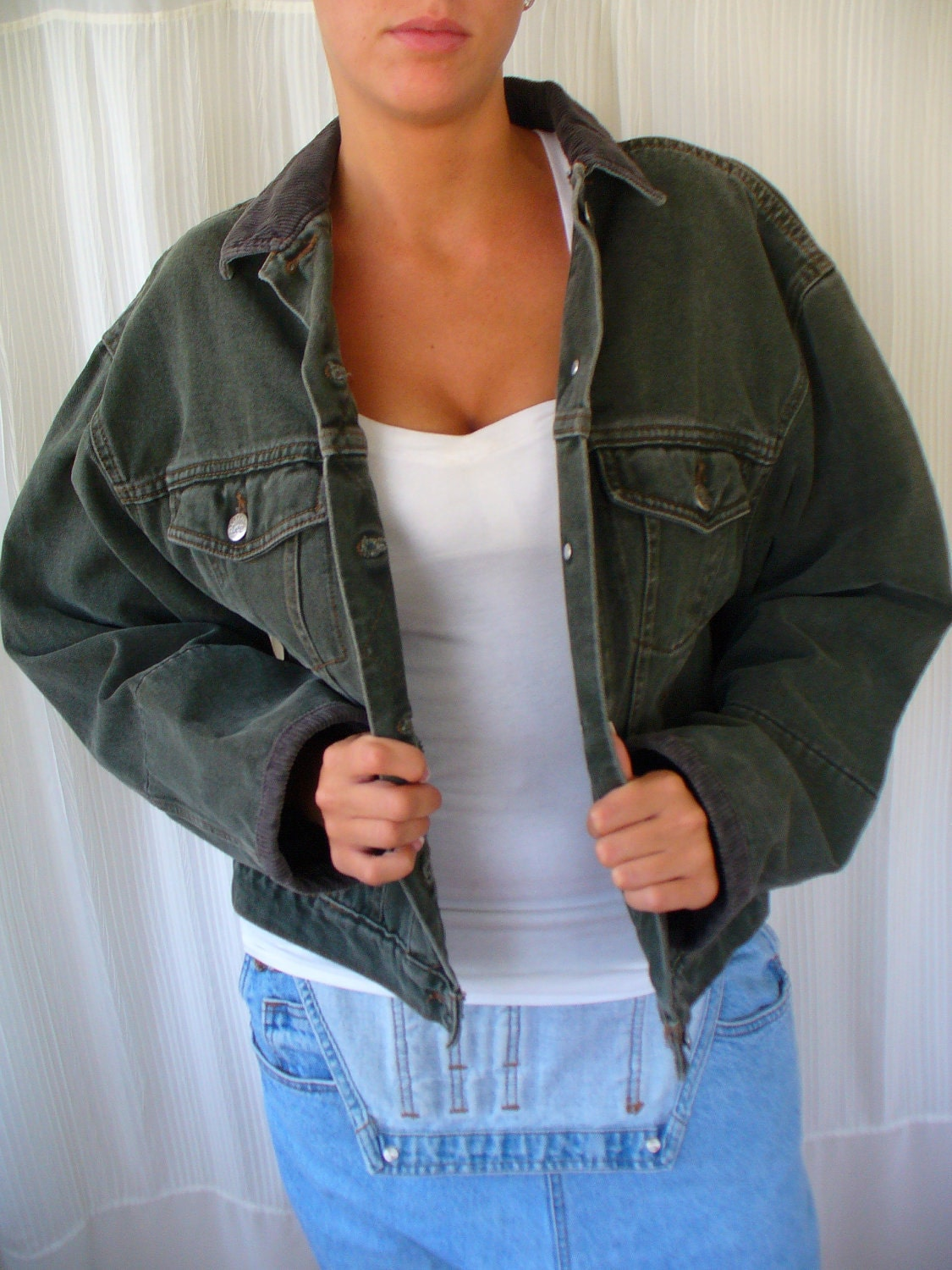 Vintage 60s Dark Green Denim Jacket Riveted Lee by vintageriches