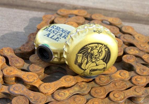 Stone Arrogant Bastard Ale beer bottle cap bicycle tire valve caps
