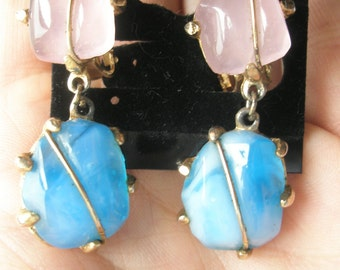 Pink and Blue Marbled Dangle Earrings