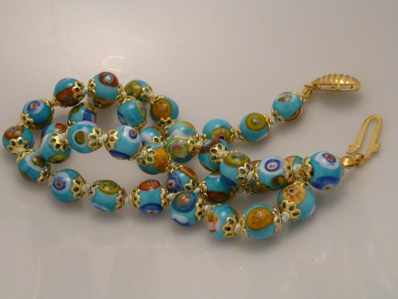 Vintage Blue Bead Millefiori Necklace