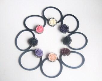 Flower on filigree elastic - floral ponytail holder vintage style
