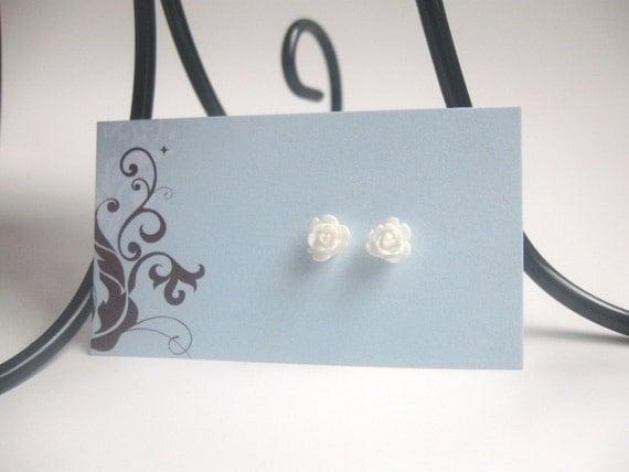 White rose posts - flower tiny stud earrings