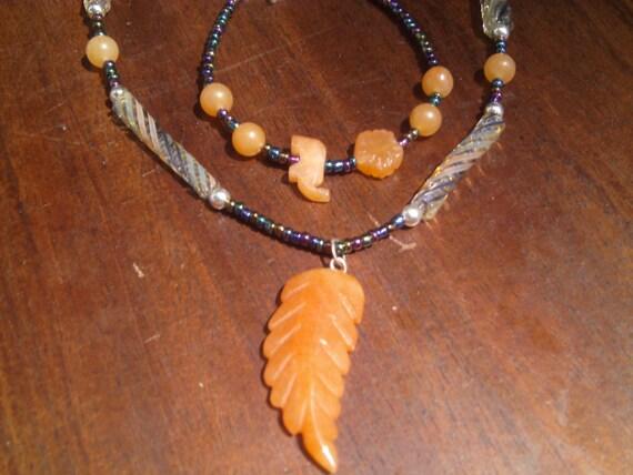 Glass Leaf Neckace and Bracelet set