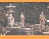 Beautiful Japan Japanese old antique vintage three girls geisha postcard