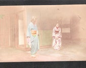ANOTHER Beautiful Japan Japanese old antique vintage girl geisha kimono postcard