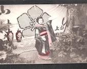 ANOTHER Beautiful Japan Japanese old antique vintage girl geisha kimono postcard