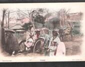 ANOTHER Beautiful Japan Japanese old antique vintage girl geisha rickshaw Jinrikisha postcard
