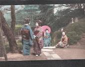 ANOTHER Beautiful Japan Japanese old antique vintage 4  girls geisha  postcard