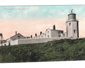a The lighthouse The Lizard Cornwall Lands End foghorn vintage postcard