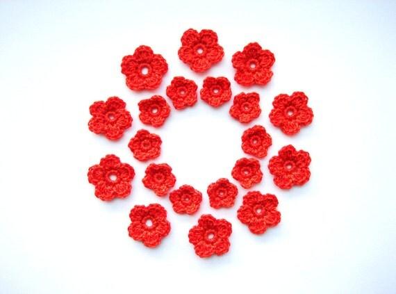 Crochet Flower, Juicy Orange, Appliques, Set of 20