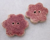 2 Rose Pink Ceramic Flower Buttons