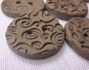 6 Medium Black Clay Spiral Buttons