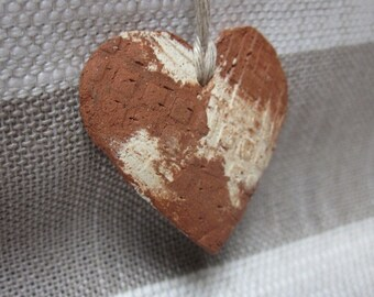 Textured Terracotta Hanging Heart