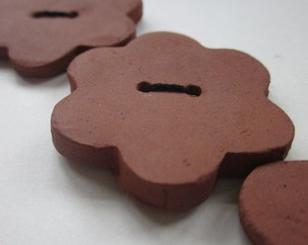 3 Large Terracotta Flower Buttons
