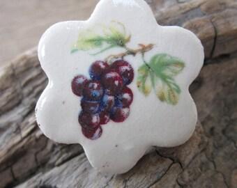 Grapevine Ceramic Flower Brooch