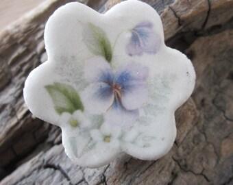 Sweet Violet Ceramic Flower Brooch