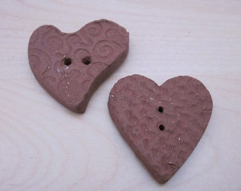 2  Heart Textured Terracotta Buttons