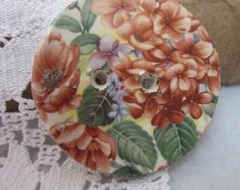 Brown Autumn Flower Motif Ceramic Button